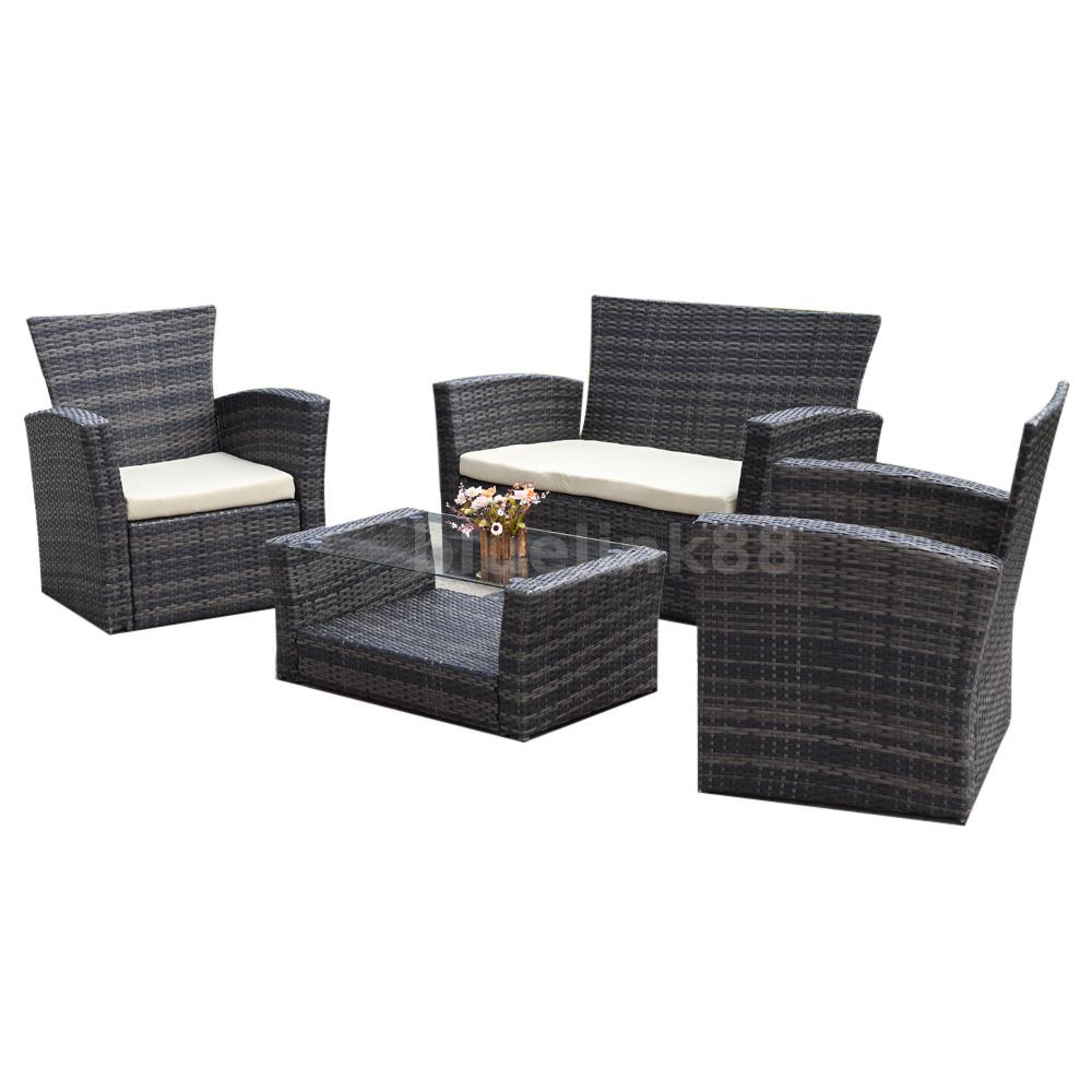 4pc outdoor patio garden furniture wicker rattan sectional. Black Bedroom Furniture Sets. Home Design Ideas
