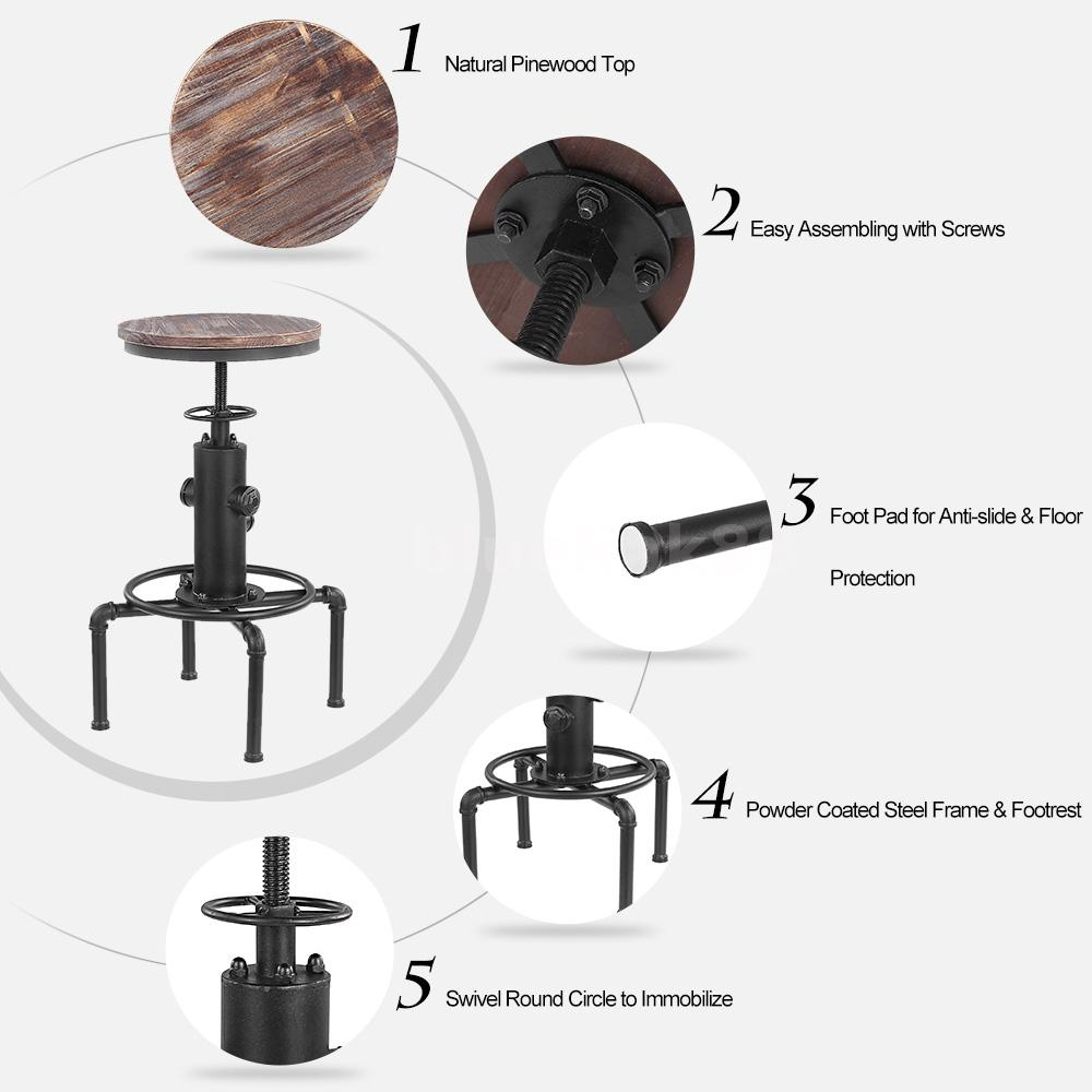 Metal industrial bar hocker einstellbare swivel esszimmer for Industrial barhocker