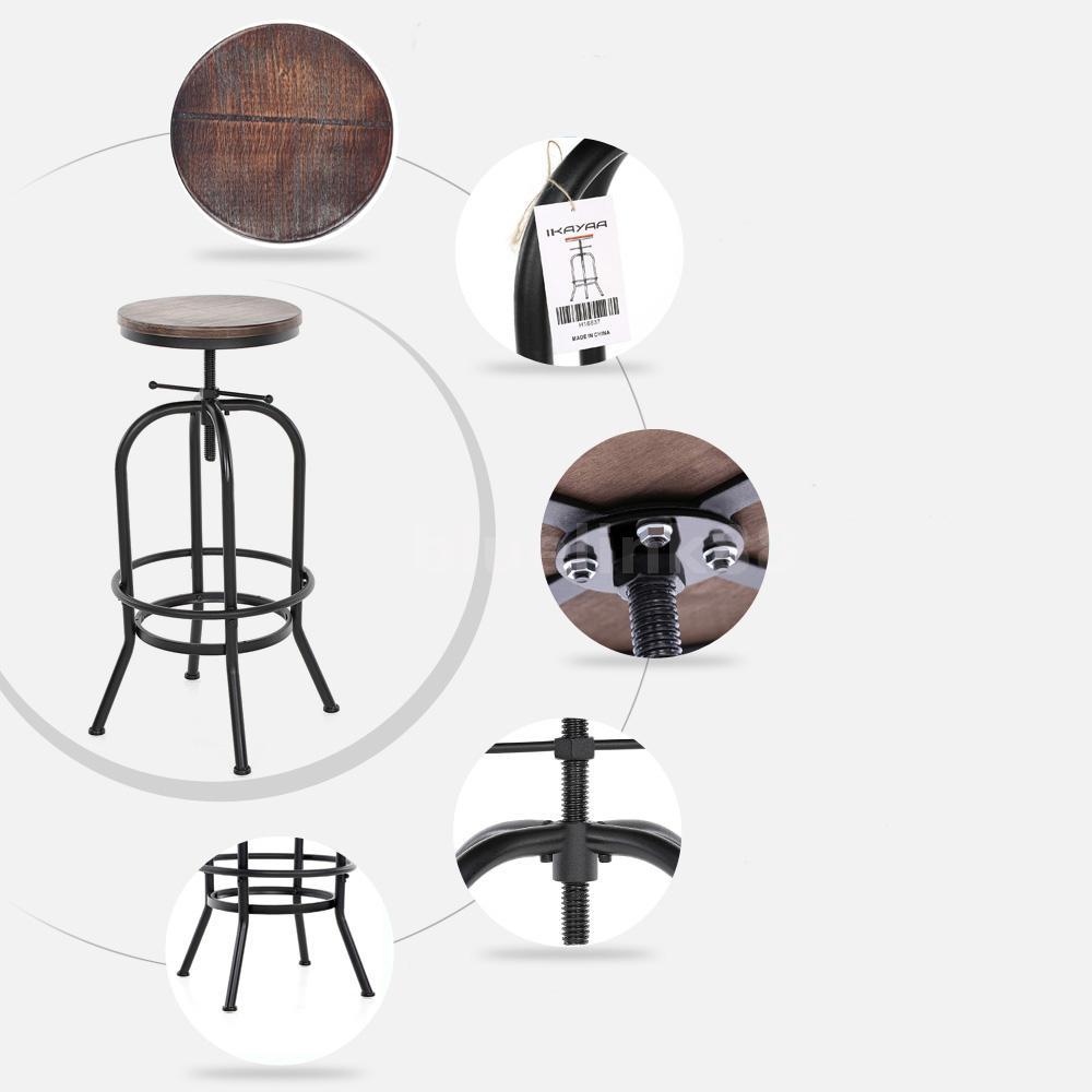 2pcs metall barhocker holz h henverstellbar barstuhl theke loft industrie u0d2 ebay. Black Bedroom Furniture Sets. Home Design Ideas