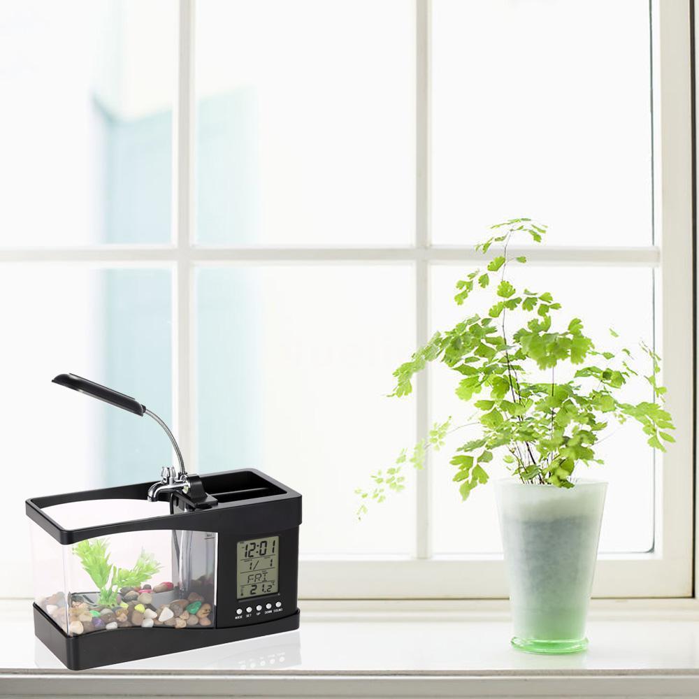 Usb lcd desktop lamp light fish tank artificial plant for Artificial fish tank
